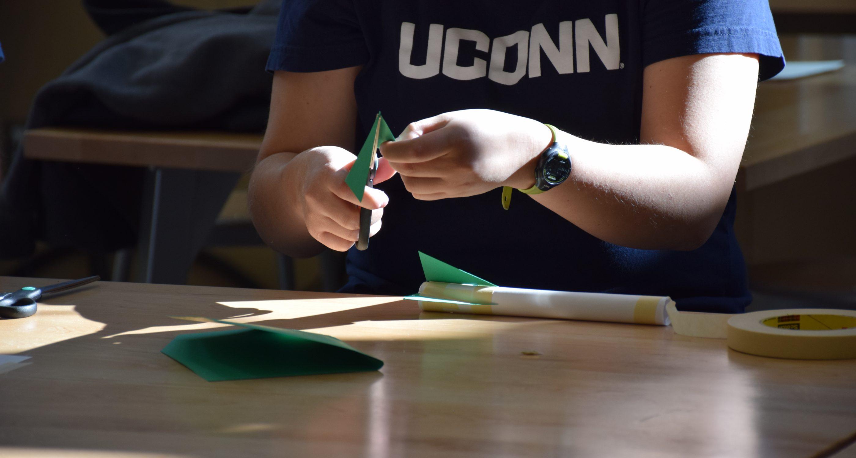 Student using scissors